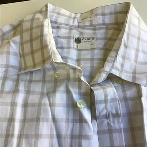 Jcrew Casual Cotton Shirt Checkered Tan/white L